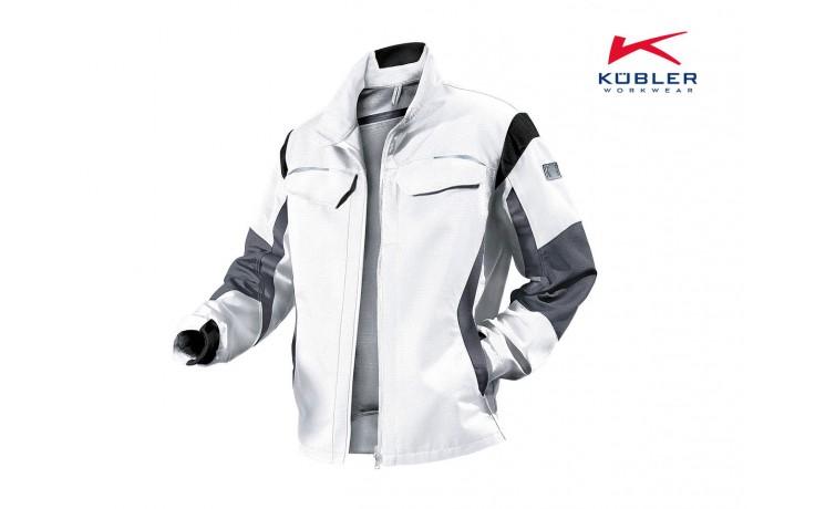 Die Kübler pulsschlag Arbeitsjacke weiß ist eine hochwertig verarbeitete Arbeitsjacke mit Steh- und Umlegekragen und bequemem Stretcheinsatz im Nacken.